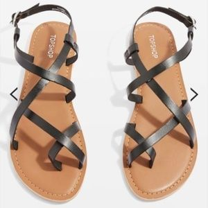 New Topshop Black Leather Strappy Sandals Toe Ring